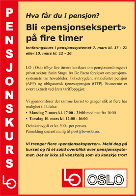 Pensjonskurs 7. og 10. mars 2016. Plakat.