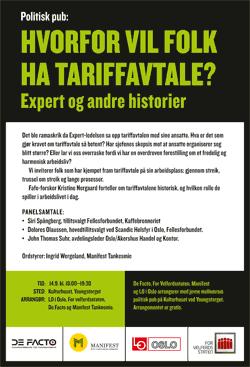 Invitasjon til politisk pub 14. september 2016. Plakat.