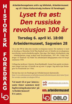 Invitasjon til foredrag om den russiske revolusjon. Plakat.