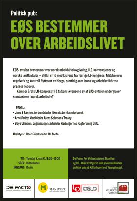 Invitasjon til politisk pub om EØS og arbeidslivet. Plakat.