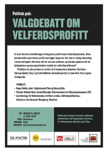 Plakat for valgdebatt 23. august.