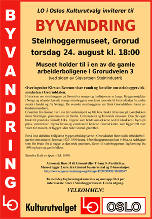 Plakat for omvisning på Steinhoggermuseet.
