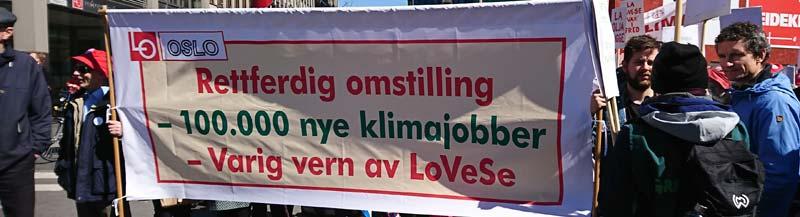 Bilde av LO i Oslos 1. maiparole om 100000 klimajobber og vern av LoVeSe.