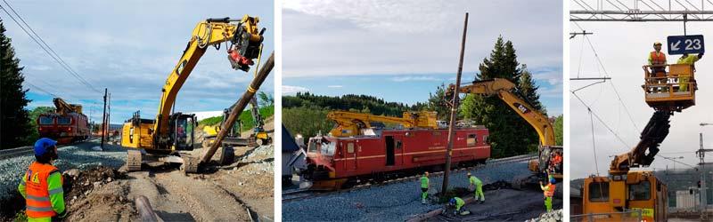Bilde av vedlikehold av jernbanen.