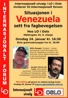 Plakat Internasjonalt forum om Venezuela.