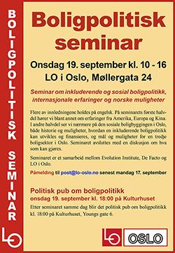 Plakat om boligpolitisk seminar 19. september.