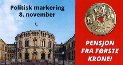 Bilde av Stortinget og et kronestykke.