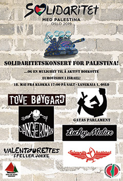 Plakat for solidaritetskonserten for det palestinske folk.