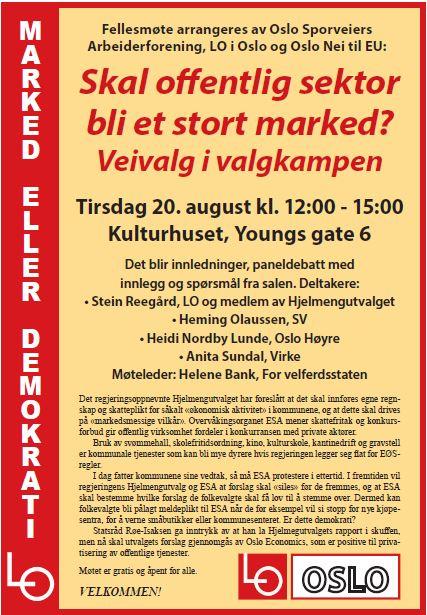 Plakat for debattmøte om Hjelmengutvalgets forslag.
