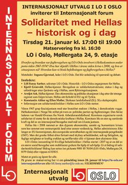 Bilde av plakat for internasjonalt forum om Hellas.