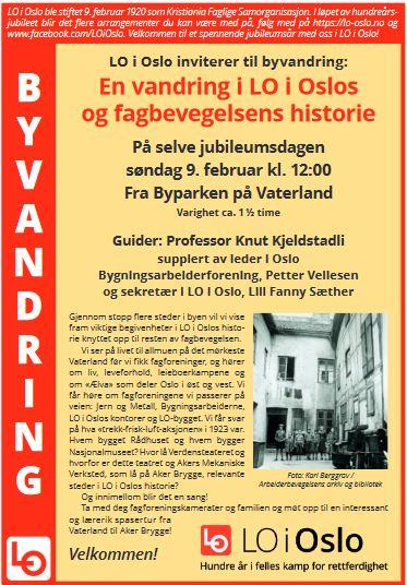 Bilde av plakat for byvandring 9. februar 2020.