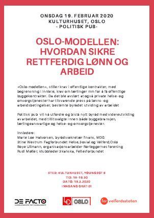 Plakat for politisk pub om Oslo-modellen.