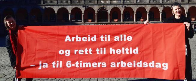 Bilde av LO i Oslos 8. marsparole om sekstimers arbeidsdag.